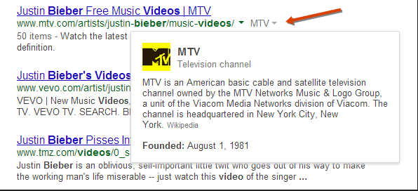 MTV knowledge graph card in Google SERPs